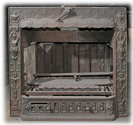 Cast Iron Fireplace Insert - Antique Heaters And Stoves For Sale - Cast Iron Fireplace Insert